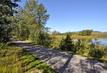 Pond and walking trail in Royal Oak, Calgary