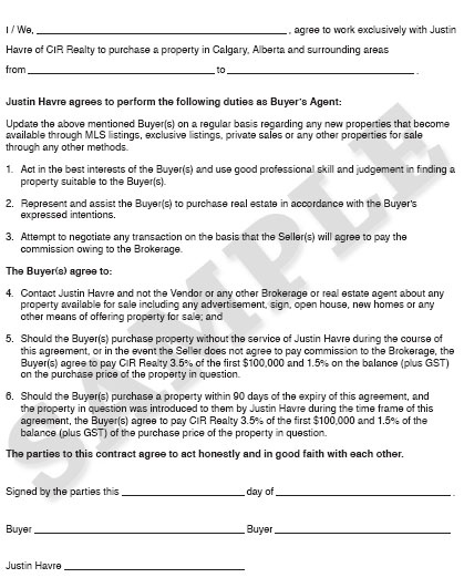 Sample Buyer's Agent Agreement