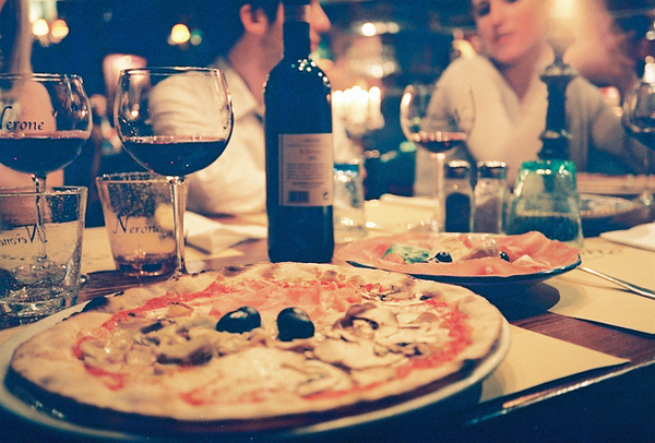 Pizza and Wine - Image Credit: https://www.flickr.com/photos/melancholypear/4528608020