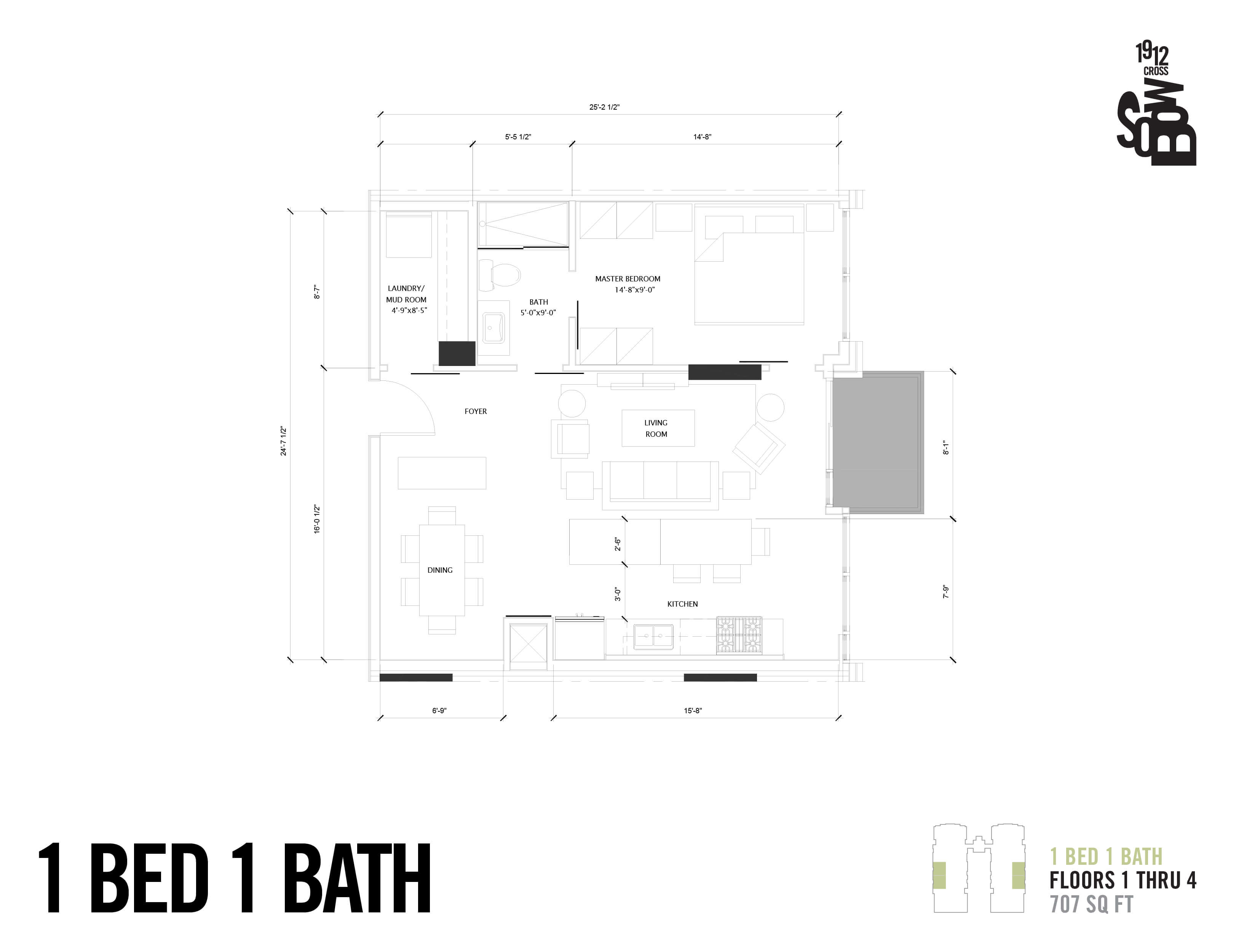 1 Bedroom - 707 Sqft